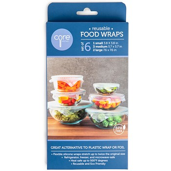 Set of 6 Core Home Reusable Clear Silicone Food Wraps