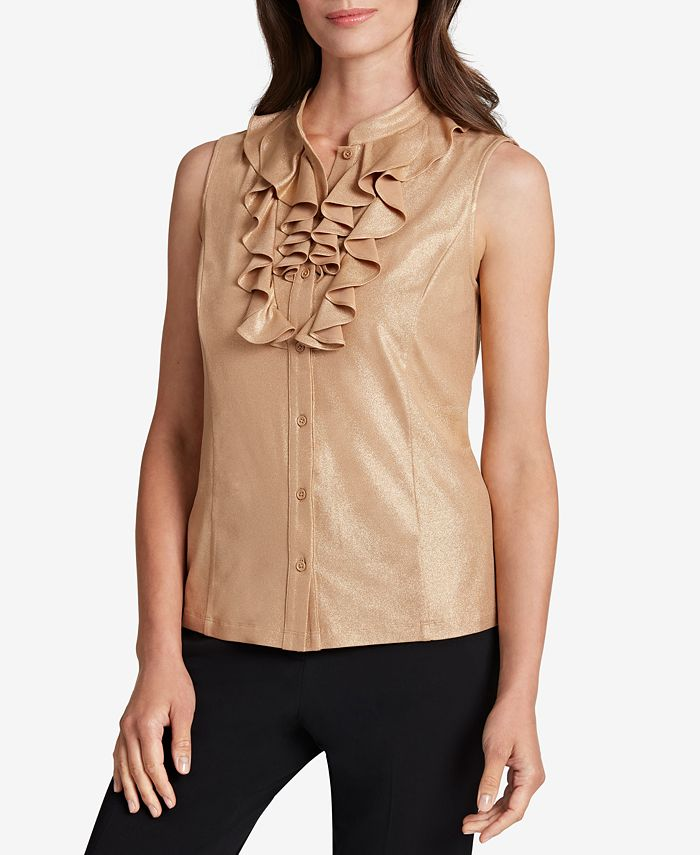 Tahari ASL - Ruffled Sleeveless Blouse