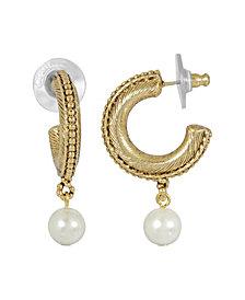 2028 Women's 14K Gold Dipped Imitation Pearl Drop Hoop Earrings
