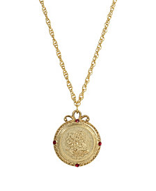 2028 Women's Gold Tone January Flower of the Month Carnations Necklace 20Inch