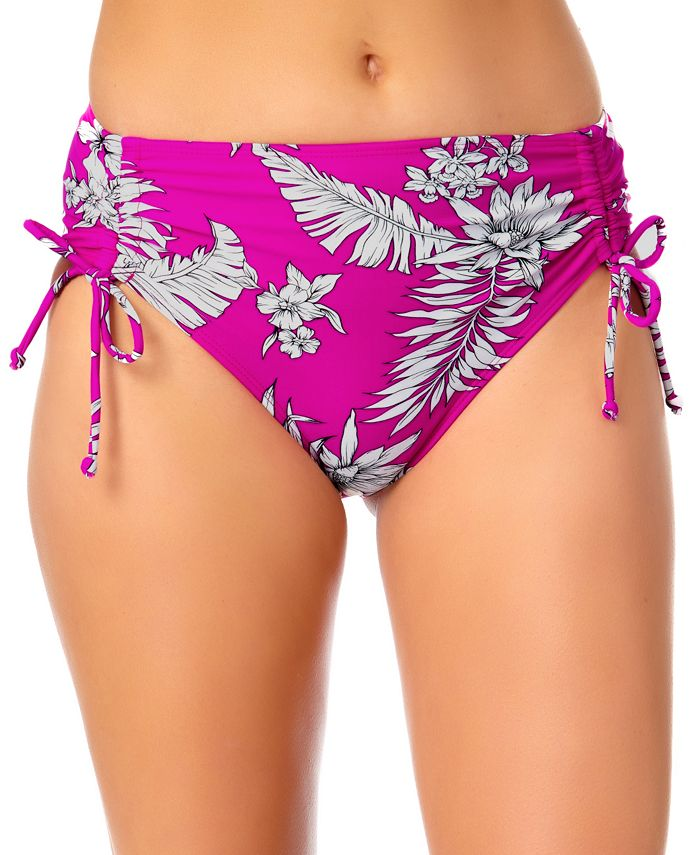 California Waves - Floral-Print High-Waist Bikini Bottoms