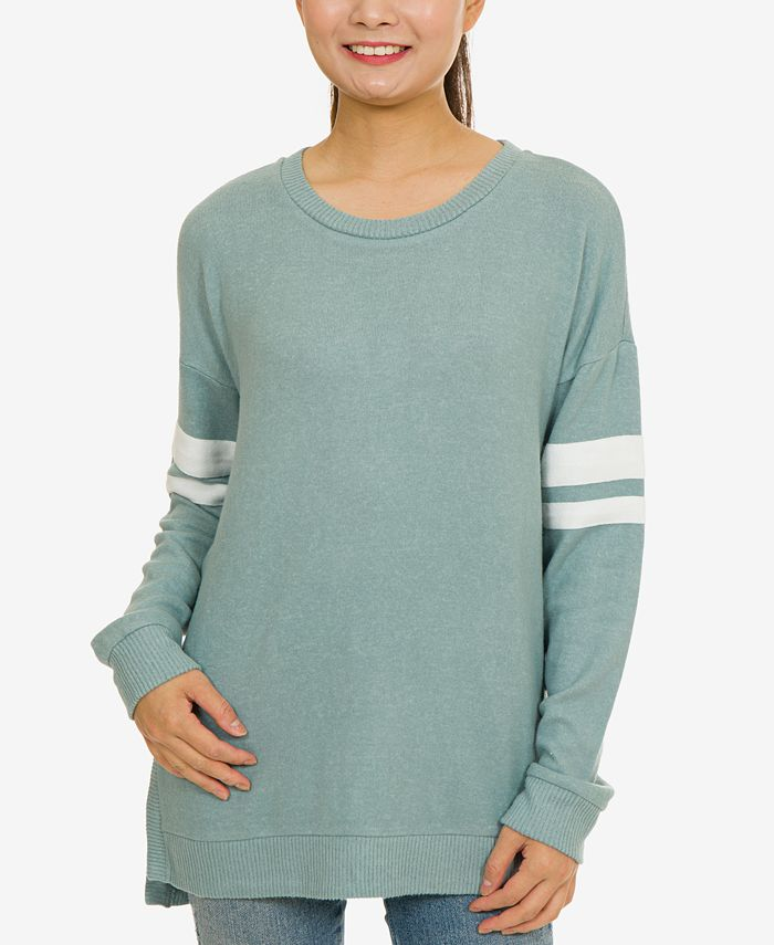 Hippie Rose - Juniors' Marled Striped-Sleeve Tunic Top