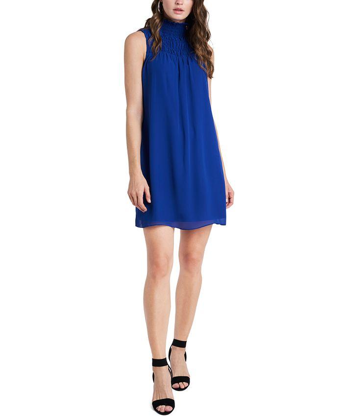 1.STATE - High-Neck Smocked Dress