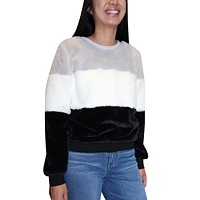 Almost Famous Juniors Fuzzy Colorblocked Sweatshirt Deals