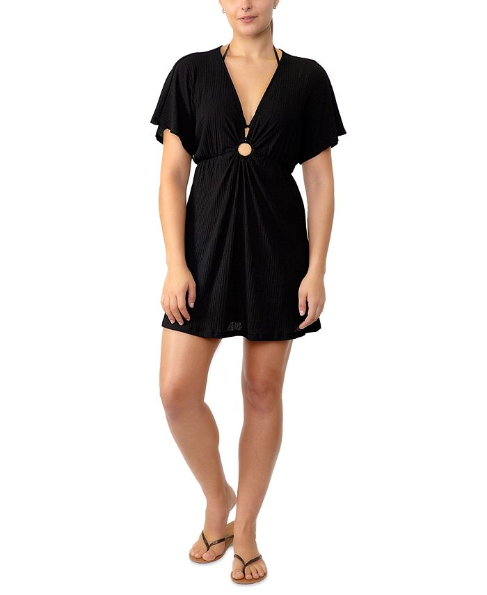 Miken - Juniors' Solid Ring-Front Cover-Up