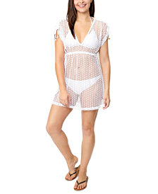 Miken Juniors' Ruched-Sleeve Cover-Up Dress, Created for Macy's