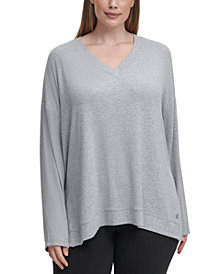 Calvin Klein Performance Plus Size V-Neck High-Low Top