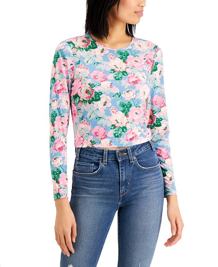 LEYDEN - Floral-Print Cropped Top