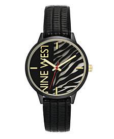 Nine West Women's Gunmetal and Black Textured Strap Watch, 36.5mm