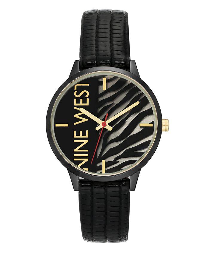 Nine West - Gunmetal and Black Textured Strap Watch, 36.5mm
