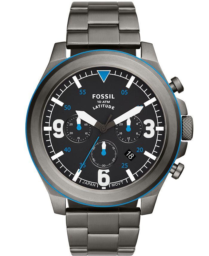 Fossil - Men's Latitude Gunmetal Bracelet Watch 50mm