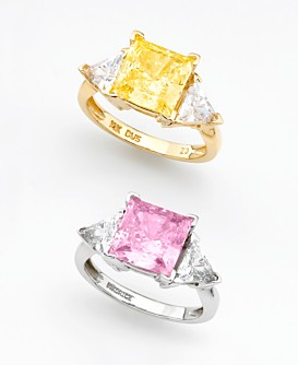 Macy*s -   Jewelry & Watches - 								14k White Gold Princess-Cut Pink Cubic Zirconia Ring from macys.com