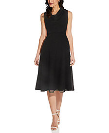 Adrianna Papell Cowlneck A-Line Dress