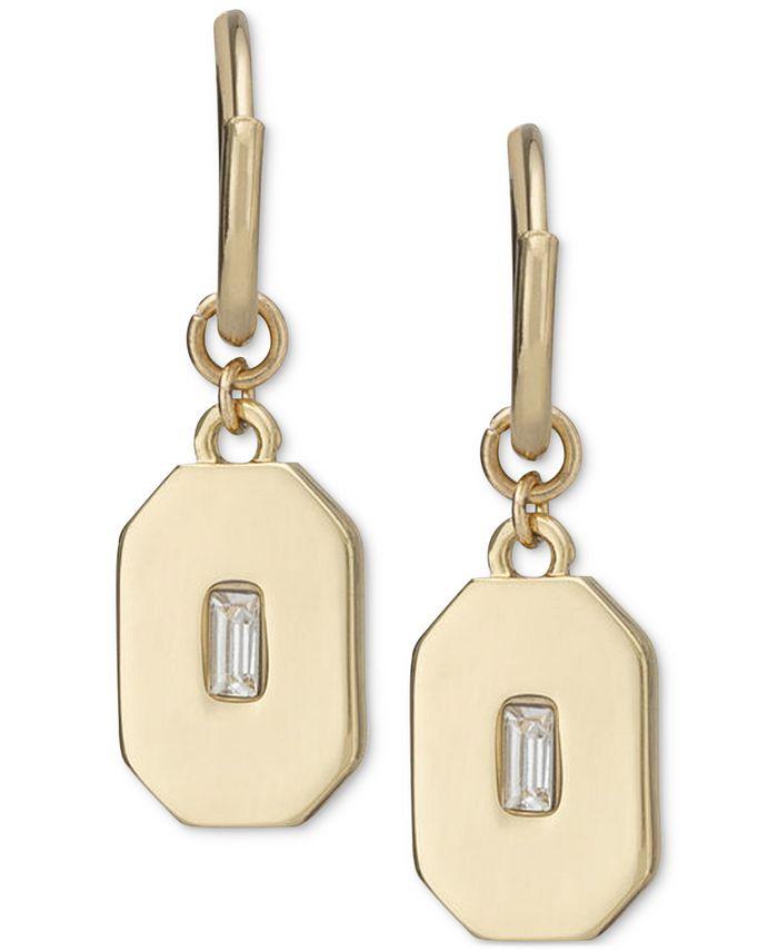 RACHEL Rachel Roy - Gold-Tone Crystal Engraved Charm Hoop Earrings