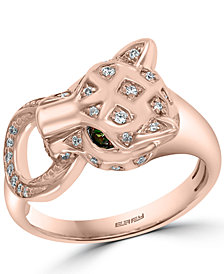 EFFY® Diamond (1/6 ct. t.w.) & Tsavorite Accent Panther Statement Ring in 14k Rose Gold-Plated Sterling Silver
