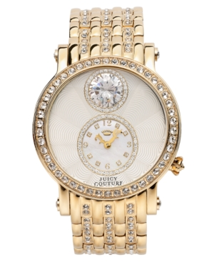 Juicy Couture Women's Crystal-Accented Gold-Tone Stainless Steel Bracelet Watch 42mm 1901073