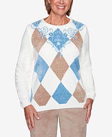 Women's Plus Size Dover Cliffs Argyle Floral Yoke Embroidered Sweater