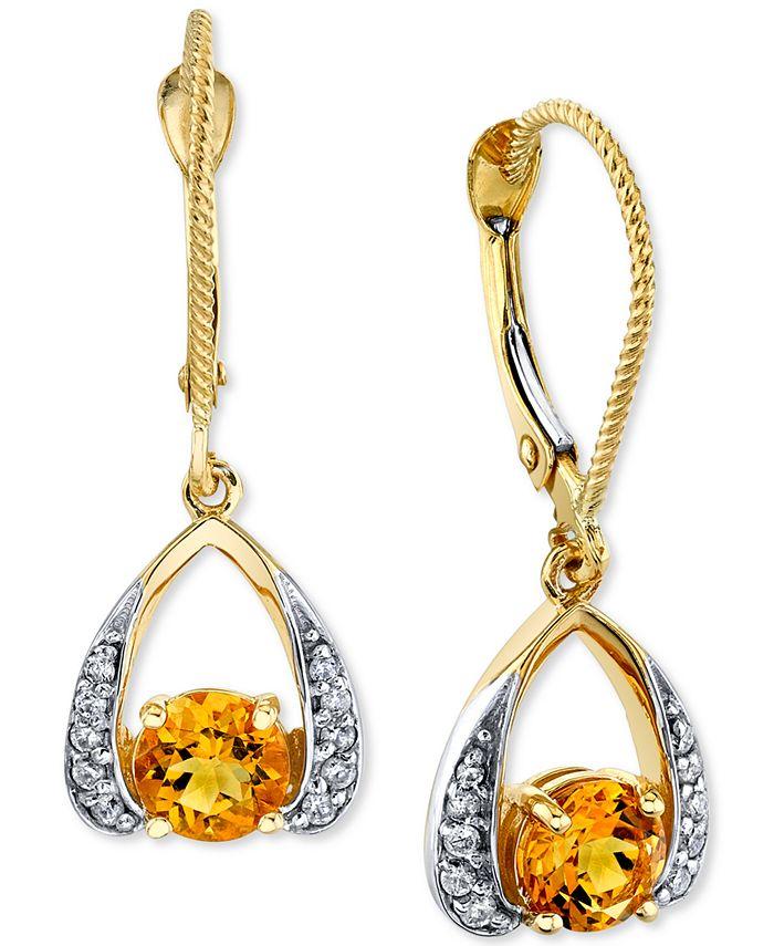 Macy's - Citrine (1 ct. t.w.) & Diamond (1/8 ct. t.w.) Drop Earrings in 14k Gold
