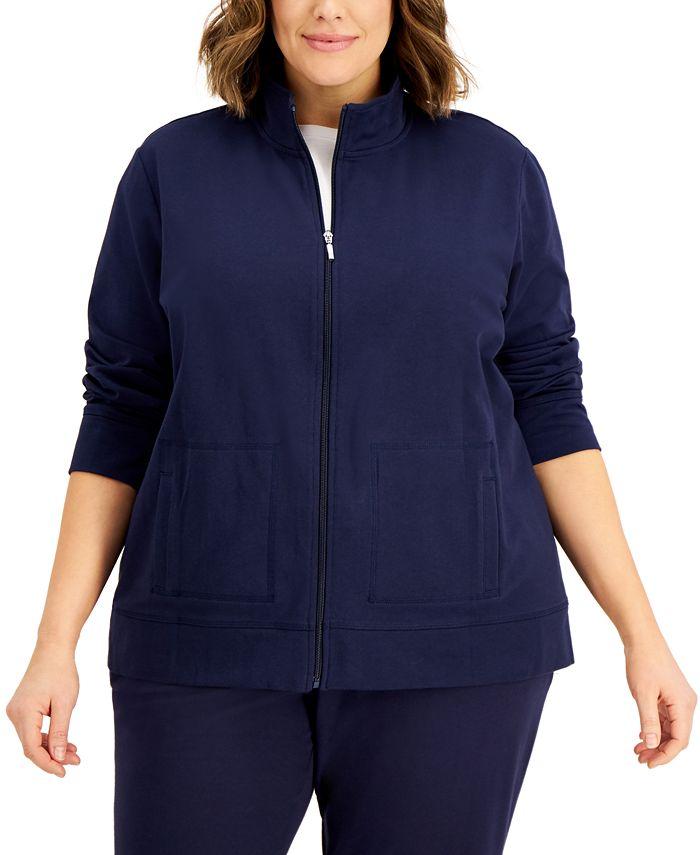 Karen Scott - Plus Size French Terry Knit Jacket