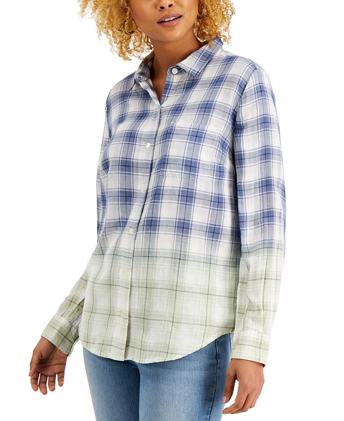 Style & Co - Petite Ombré Plaid Button-Front Shirt