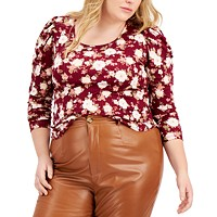 FULL CIRCLE TRENDS Trendy Plus Size Ruched-Sleeve Top Deals