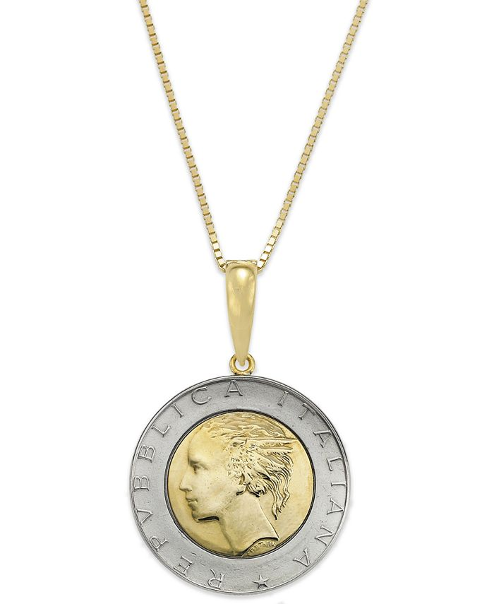 Italian Gold - Vermeil and Sterling Silver Lira Coin Pendant Necklace