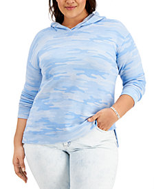 Style & Co Plus Size Camouflage Hoodie, Created for Macy's