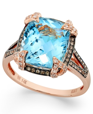 Bleu Rose by Effy Blue Topaz (6-3/8 ct. t.w.) and Brown Diamond (1/3 ct. t.w.) Cushion-Cut Ring in 14k Rose Gold