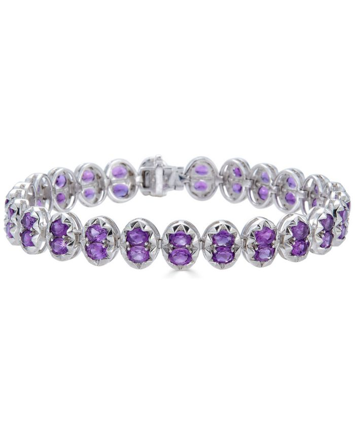 Macy's Amethyst Oval Link Bracelet (8-1/3 ct. t.w.) in Sterling Silver (Also in Multi-Stone) & Reviews - Bracelets - Jewelry & Watches - Macy's