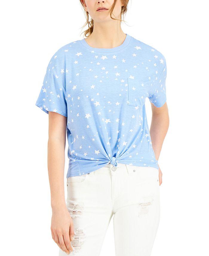 Self Esteem - Juniors' Star Printed Knot-Front Ringer T-Shirt
