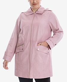 Michael Michael Kors Plus Size Hooded Water-Resistant Raincoat