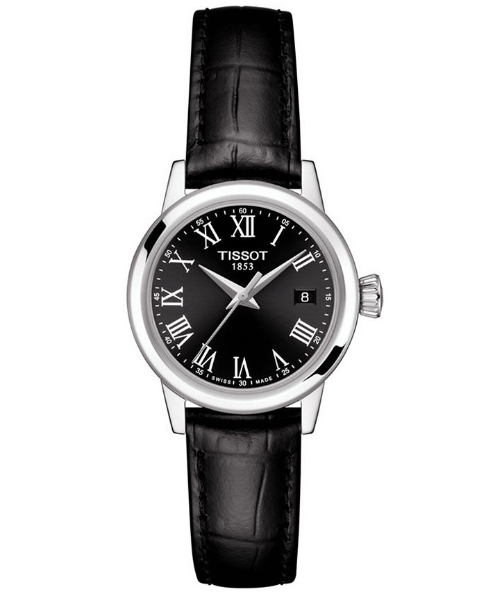 Tissot - Women's Swiss Classic Dream Black Leather Strap Watch 28mm
