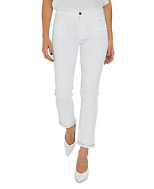 JEN7 Embellished Cropped-Leg Ankle Jeans
