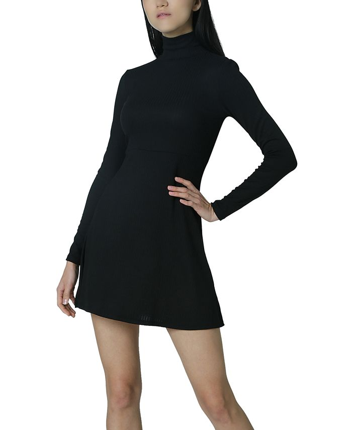 Ultra Flirt - Juniors' Ribbed Mock Neck Dress