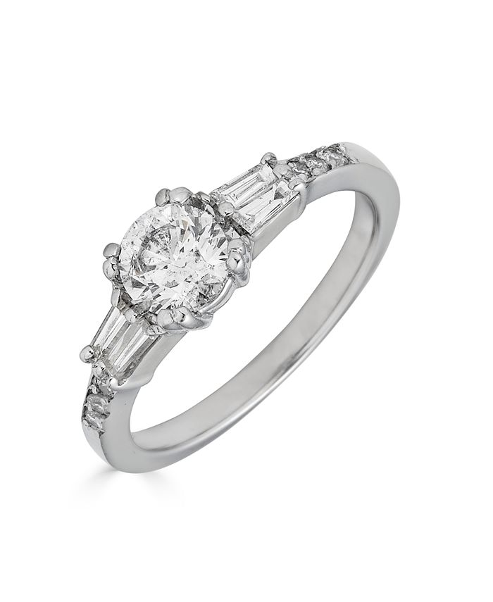 Macy's - Diamond Engagement Ring (1 ct. t.w.) with Tapered Baguettes in 14K White Gold