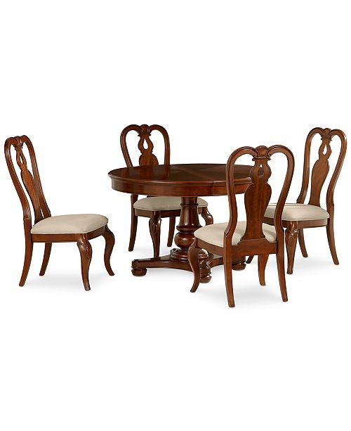 Furniture Closeout Bordeaux 5 Piece Round Dining Room Furniture Set Round Pedestal Dining Table 4 Queen Anne Side Chairs Reviews Furniture Macy S