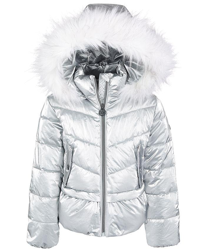 Michael Kors - Toddler Girls Metallic Peplum Puffer Coat