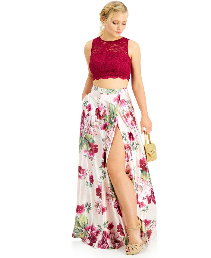 Crystal Doll - Juniors' Two-Piece Cropped-Top Ball Gown
