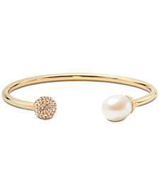 Kate Spade New York Gold-Tone Pavé Fireball & Freshwater Pearl (12x10mm) Flex Cuff Bracelet