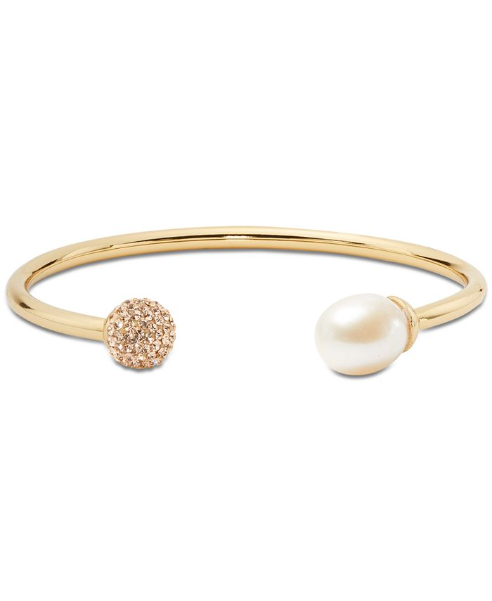 kate spade new york - Gold-Tone Pavé Fireball & Freshwater Pearl (12x10mm) Flex Cuff Bracelet