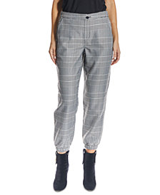 OAT High-Rise Pull-On Plaid Ankle Joggers