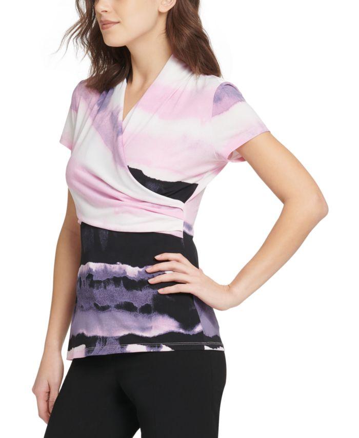 DKNY Printed Faux-Wrap Top & Reviews - Tops - Women - Macy's