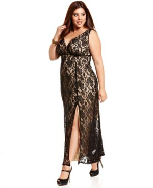 Trixxi Plus Size Dress, Sleeveless Lace Gown