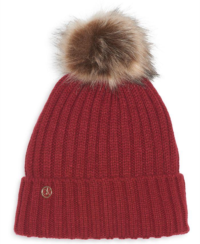 Calvin Klein - Fleece-Lined Knit Pom Pom Hat