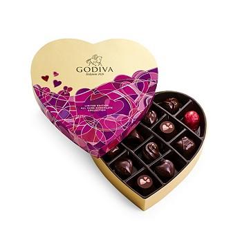 Godiva 14-Piece Dark Chocolate Lovers Heart Gift Box