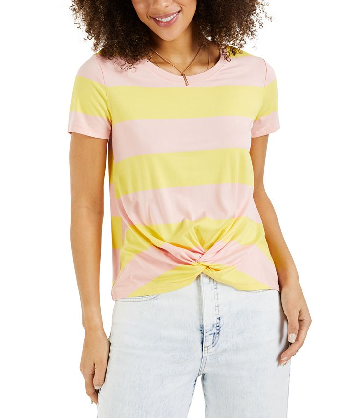 Style & Co - Striped Twist-Front Top
