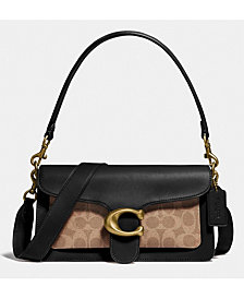 Coach Tabby Leather Shoulder Bag 26 With Signature Canvas
