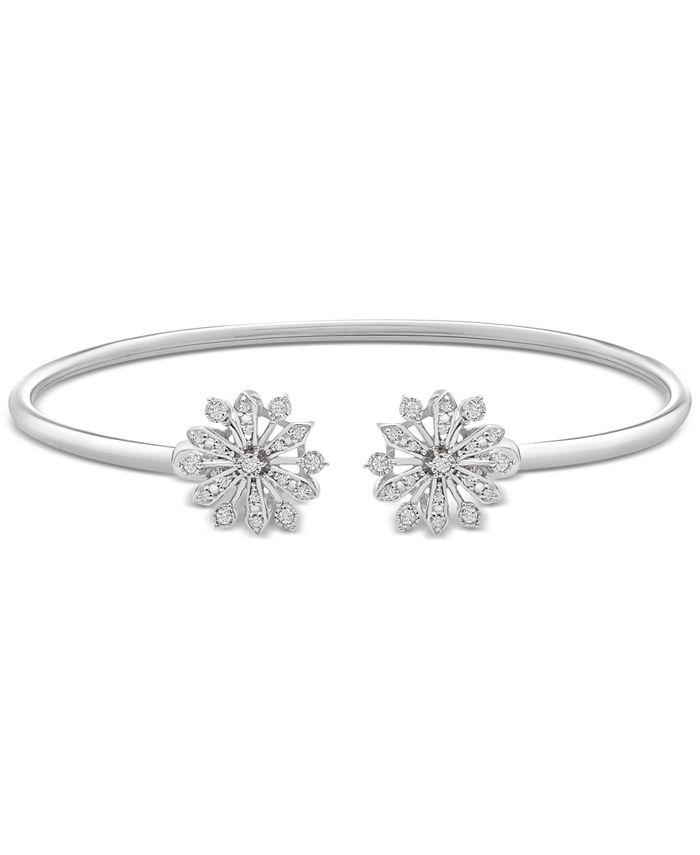 Wrapped - Diamond Flower Flexy Open Bangle (1/4 ct. t.w.) in Sterling Silver