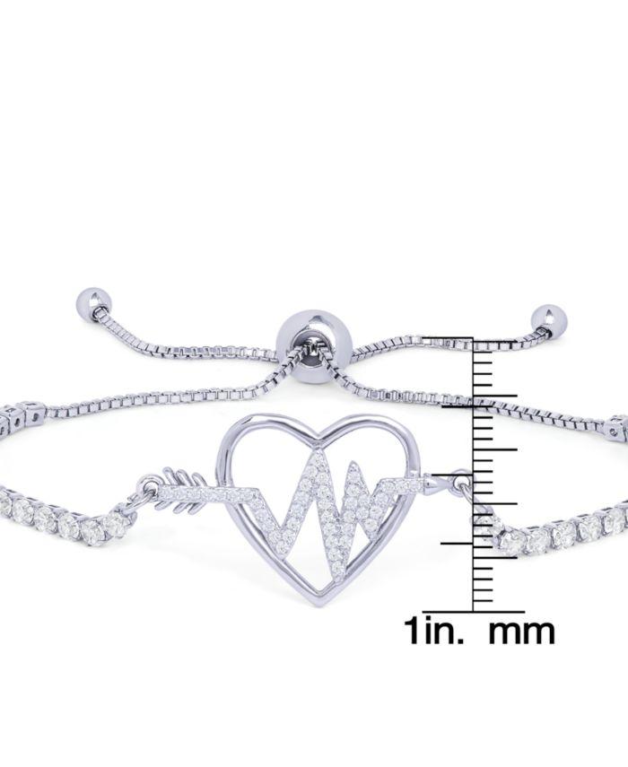 Macy's Cubic Zirconia Heartbeat Adjustable Bolo Bracelet in Fine Silver Plate & Reviews - Bracelets - Jewelry & Watches - Macy's