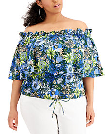 INC Plus Size Cotton Printed Off-The-Shoulder Ruffled Top, Created for Macy's